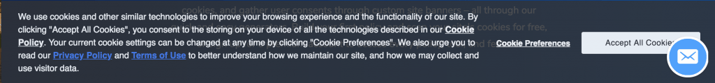 An example of a cookie notification that is GDPR compliant.