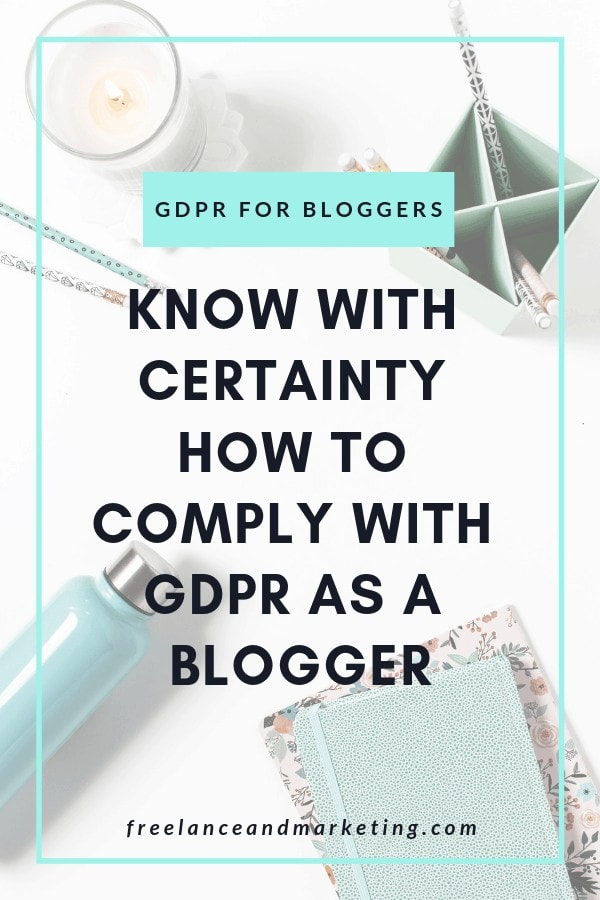 A pinterest pin about GDPR for bloggers and how to stay compliant