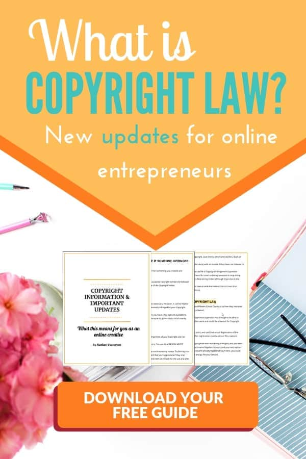Copyright law for entrepreneurs is important protection because it makes sure that other people do not steal your protected material and make pass it as their own. Many things can be copyrighted such as your literary and artistic work, blog posts, pictures, images, architecture, etc. Read my post on the latest copyright law news and updates and download my free Copyright law guide which will tell you the steps to take if someone is infringing on your copyright.