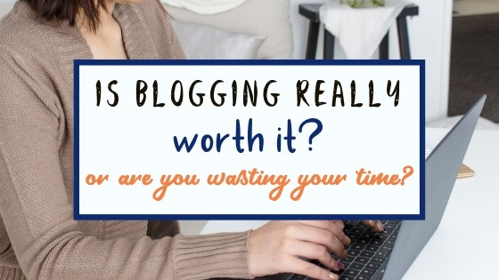 A social graphic image of blog post title and woman sitting at her computer and typing