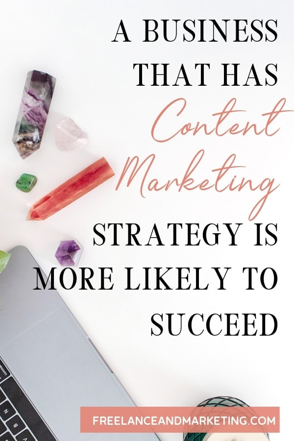 An image of laptop and crystals that were created onto a Pinterest pin graphic for content marketing strategy pin.