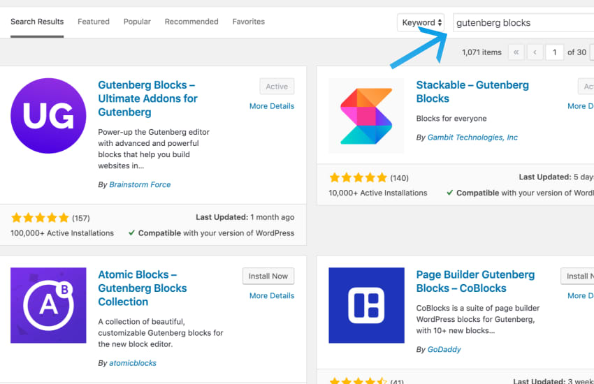 a screenshot image of wordpress plugin repository showing different plugins for gutenberg blocks