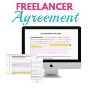 An image of computer screen, ipad screen and iphone that all show freelancer agreement