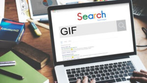 An image of laptop with Google search open searching for the word GIF