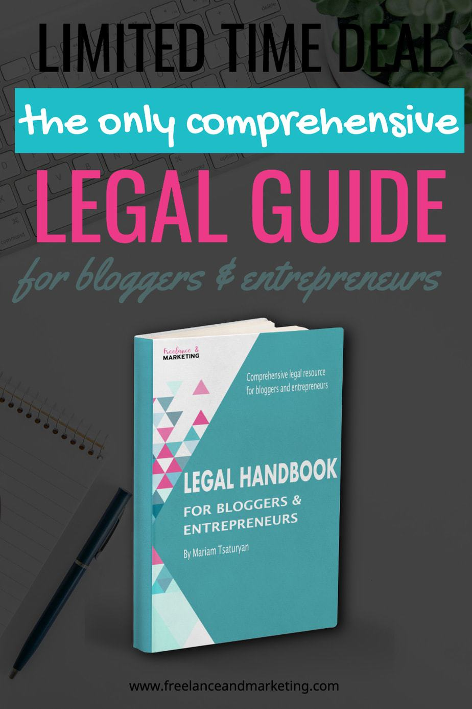 Legal Handbook for Bloggers & Entrepreneurs. A comprehensive legal guide for all bloggers and entrepreneurs for many different legal issues and matters. Learn all about copyright, trademark, GDPR, CCPA, and many other important legal matters. #bloglegally #legalhandbook #legalresource #ebook #promotion