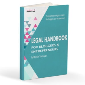 an image of an ebook that says legal hadnbook for bloggers and entrepreneurs